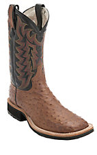 Tony Lama Men's Dark Brown Vintage Full Quill w/ Black Top Square Toe Western Boots