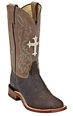 Tony Lama Ladies Chocolate and Tan with Cross Double Welt Wide Square Toe Boots