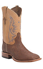 Tony Lama Tan Badlands Shoulder w/ Desert Top Double Welt Square Toe Western Boots