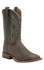 Tony Lama Tree Bark Shoulder w/Hunter Green Top Double Welt Square Toe Western Boots
