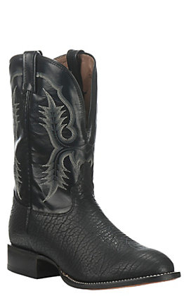Tony Lama Men's Black Bullhide Stockman Boots