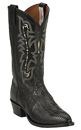 Tony Lama Men's Black Teju Lizard R-Toe Exotic Western Stockman Round Toe Boots