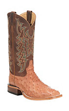 Tony Lama Men's Peanut Brittle Full Quill Ostrich with Smooth Brown Upper Exotic Square Toe Boots