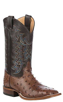 Tony Lama Men's Kango Tobacco with Chocolate Full Quill Ostrich Upper Exotic Square Toe Western Boots