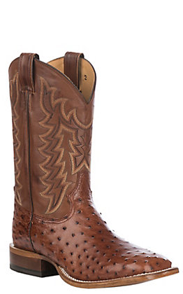 Tony Lama Men's Brown Brandy with Tan Full Quill Ostrich Upper Exotic Square Toe Western Boots