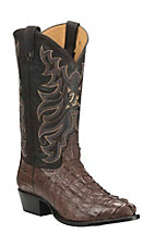 Tony Lama Men's Walnu Caiman Tail with Chocolate Upper Exotic Round Toe Boots