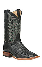 Tony Lama Men's Black Caiman Tail Exotic Square Toe Boots