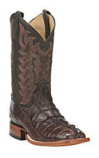 Tony Lama Men's Chocolate Caiman Tail with Walnut Tuscan Goat Upper Exotic Square Toe Boots