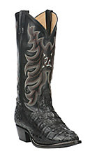 Tony Lama Men's Black Caiman with Black Goat Upper Exotic Traditional Toe Western Boots