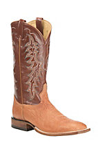 Tony Lama Men's Peanut Brittle Smooth Ostrich with Tan Upper Exotic Square Toe Boots