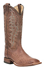 Tony Lama Men's Kango Tobacco with Brown Smooth Ostrich Upper Exotic Square Toe Boots
