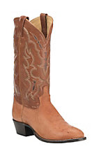 Tony Lama Men's Peanut Brittle Smooth Ostrich Exotic Round Toe Boots