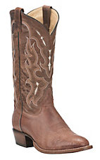 Tony Lama Men's Kango Tobacco with Brown Smooth Ostrich Upper Exotic Traditional Toe Western Boots