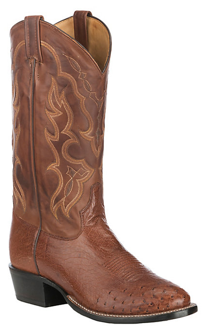 e2e44be4eb4 Tony Lama Men's Brown Brandy with Tan Smooth Ostrich Upper Exotic Western  Round Toe Boots