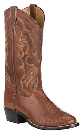 Tony Lama Men's Brown Brandy and Tan Smooth Ostrich Round Toe Exotic Western Boots