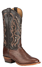 Tony Lama Men's Kango Tobacco with Chocolate Smooth Ostrich Upper Exotic Round Toe Western Boots