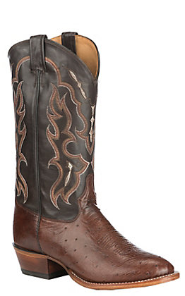 Tony Lama Men's Kango Tobacco Smooth Ostrich Round Toe Exotic Western Boots