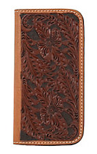 Tony Lama Chocolate/Cognac Western Floral Iphone 6 Wallet/Phone Case