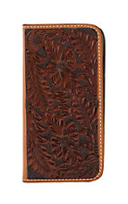 Tony Lama Chocolate/Cognac Western Floral Iphone 6 Plus Wallet/Phone Case