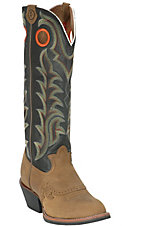 Tony Lama 3R Men's Tan Crazy Horse and Distressed Black Tall Top Buckaroo Boots