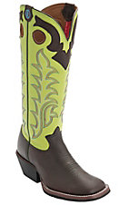 XANTony Lama 3R Men's Auburn Maverick w/ Green Tall Top Square Toe Buckaroo Boots