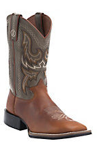 Tony Lama 3R Series Men's Tan Western with Hunter Austin Top Double Welt Square Toe Boots