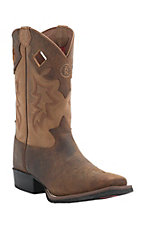Tony Lama 3R Men's Tan Waxy Buffalo with Saddle Top Square Toe Western Boot