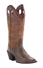 Tony Lama 3R Women's Brown Alligator Grain with Tan Top Square Toe Western Boots