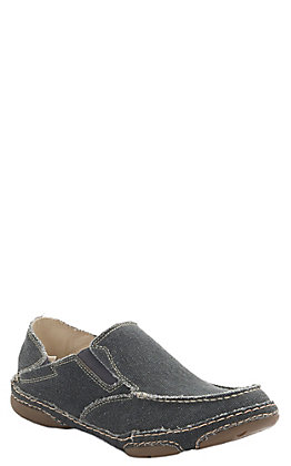 Tony Lama 3R Men's Coal Black Canvas Slip On Casual Shoes