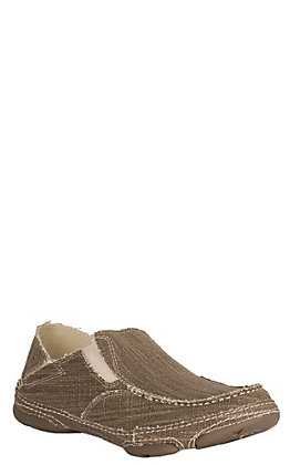 Tony Lama Men's 3R Straw Natural Canvas Slip on Shoe