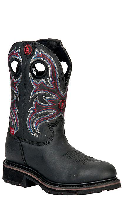 b14aa819336 Tony Lama 3R Series Men's Black Grizzly Waterproof Steel Toe Western Work  Boots