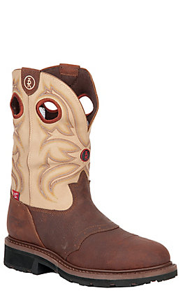 Tony Lama Men's 3R Series Grizzly Brown and Beige Waterproof Round Steel Toe Work Boot