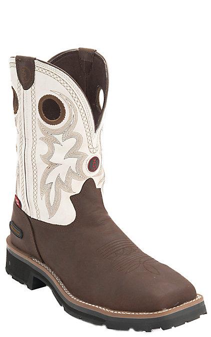 f242fb88932 Tony Lama Midland Men's Brown & White Waterproof Square Composite Toe Work  Boots