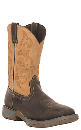 Tony Lama 3R Men's Tan & Brown Buck Skin Square Steel Toe Work Boot