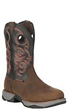 Tony Lama Men's 3R Buffalo Brown and Black Round Steel Toe Waterproof Work Boots