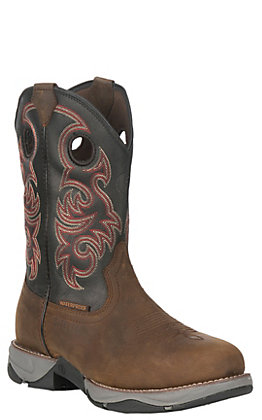 Tony Lama Men's 3R Series Buffalo Brown and Black Waterproof Round Steel Toe Work Boot