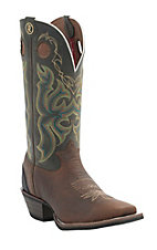 Tony Lama 3R Series Mens Bark Bull Buffalo with Green Top Double Welt Square Toe Western Boot