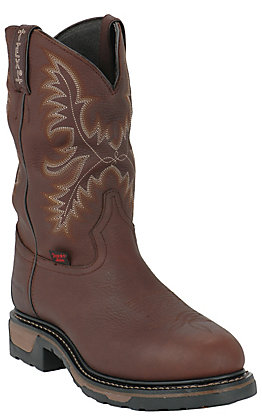 Tony Lama Men's Henrick Briar Pitstop Mahogany Brown Waterproof Round Steel Toe Work Boot