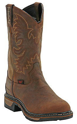 Tony Lama Men's Panhandle Tan Cheyenne Waterproof Round Steel Toe Work Boot