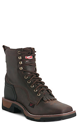 "Tony Lama Carthage Men's Brown Broad Square Soft Toe Western 7"" Lace Up Work Boots"