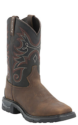 Tony Lama TLX Men's Work Walnut Buff with Black Top Composite Square Toe Work Boots