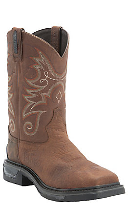 Tony Lama TLX Men's Work Sierra Brown Waterproof Composite Square Toe Work Boots