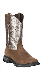 Tony Lama Men's Silver Diamond Plate Composite Safety Toe Work Boot