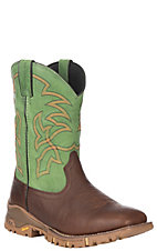 Tony Lama TLX Men's Green and Brown Waterproof Square Toe Work Boots