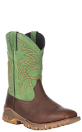 Tony Lama Men's TLX Brown and Green Waterproof Square Toe Work Boot