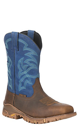 Tony Lama Men's TLX Tan and Blue Square Steel Toe Work Boot