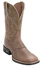Tony Lama Men's Sand Tonkawa w/ Olive Top Double Welt Square Toe Boots