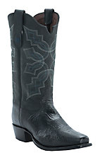 Tony Lama Men's Black Smooth Ostrich Narrow Square Toe Exotic Western Boots
