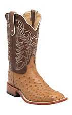 Tony Lama Men's Vintage Tan Full Quill Ostrich Exotic Square Toe Western Boots