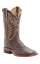 Tony Lama Men's Coffee Brown Full Quill Ostrich Exotic Square Toe Western Boots